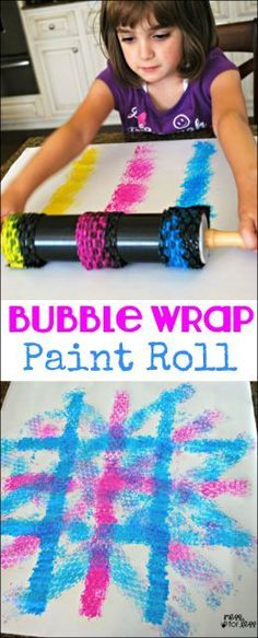Kids painting with rolling pins. This new twist on an old favorite is the perfect art activity for kids!