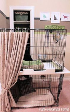 Organizing Pet Supplies – Well-Groomed Home…love how the curtain was added. Lo… Organizing Pet Supplies – Well-Groomed Home…love how the curtain was added. Looks like an easy DIY Dog Grooming Shop, Dog Grooming Salons, Dog Shop, Dog Grooming Business, Large Dog Crate, Dog Cages, Rabbit Cages, Unusual Animals, Unusual Pets