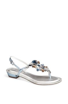 """Comes in blue and silver - I like the idea of shoes being the """"something blue"""".  Nina 'Kaylene' Sandal available at #Nordstrom"""