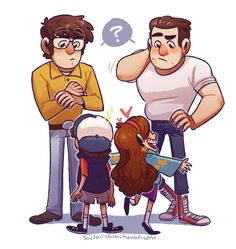 artsycrapfromsai:  new Gravity Falls AU idea??what if Dipper and Mabel accidentally end up back in time when Stan and Ford were just teenagers? bonus points for them going back to the day of, before, or after Ford's project gets messed up and Stan gets kicked outlike, what if they stop Stan before he hits the table Ford's machine is on? what if someone else messes up the machine (Bill??)? What if Ford still assumes it was Stan because of the toffee peanuts bag? but this time the twins are…