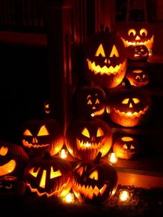 """seems wrong to put pile of jack-o-lanterns under """"holiday"""" but I missed Halloween this year so next year, I'm doing double the carving. Here's the inspiration."""