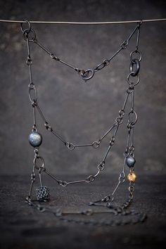 Mixed Up   Jenny Kaberg: multi strand chain necklace, minimalist handmade jewelry, black