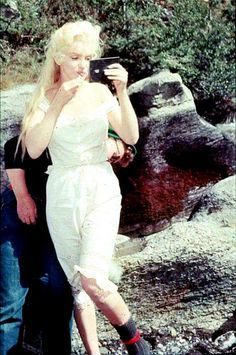 Marilyn Monroe on the set of River of No Return.