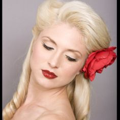 The pin up hair style is cute and spunky!