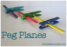 How to make these easy peg planes using wooden clothes pegs and craft sticks