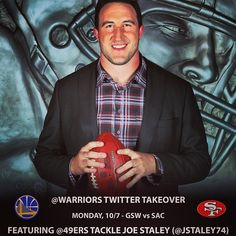 Excited to have 49ers tackle Joe Staley take over our Twitter account during Monday's preseason game! Staley will be the first athlete from a variety of Bay Area teams to take over our account this season. Details: http://on.nba.com/GCUflP