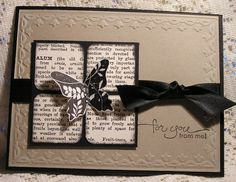 nice use of old book, rounded corners, shading, balanced with bow and butterfly