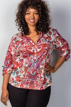 97ace692e6975f Ladies fashion plus size multi mix printed roll-sleeve plus size top
