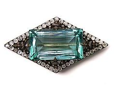 Antique Aquamarine And Diamond Brooch  c.1890