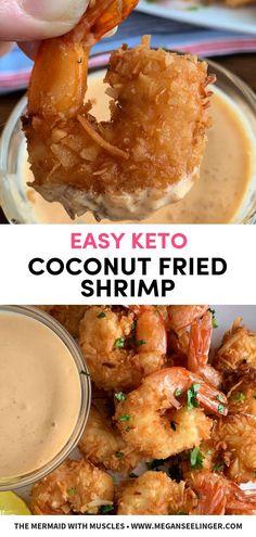Easy Keto Fried Coconut Shrimp Easy Coconut Fried Shrimp- Air Fryer or pan fried shrimp. These coconut shrimp are paleo and keto friendly, super easy keto appetizer or low carb dinner the family will love! Fried Coconut Shrimp, Pan Fried Shrimp, Food Shrimp, Ketogenic Recipes, Paleo Recipes, Cooking Recipes, Ketogenic Cookbook, Mince Recipes, Ketogenic Diet