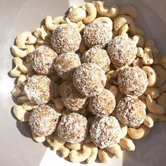 Salted caramel bliss balls... my personal fav! 50g vanilla protein powder, 1 cup cashews, 1/2 cup desiccated coconut, 15 medjool dates, 3 tablespoons pure maple syrup & 2 pinches salt. Mix in a blender or food processor. Roll into bite size balls & roll in coconut. Store these delicious things in the fridge