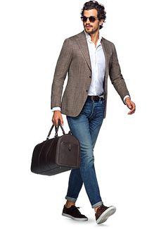 Jacket Light Brown Herringbone Hudson C960i | Suitsupply Online Store