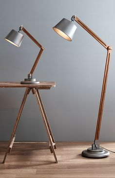 The Beacon Lighting Nuvo 1 Light Adjustable Floor Lamp In Metal With Walnut  Wood.