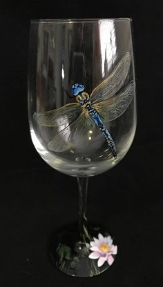 Hand Painted Dragonfly Wine Glass Spring Mother's Day Gift