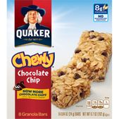 Quaker Chewy Chocolate Chip Granola Bars: 8g whole grains No high fructose corn syrup Per bar: 100 calories, 1.5g saturated fat, 70mg sodium, 7g sugars