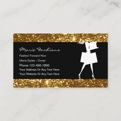 Classy Glitzy Fashion Business Cards Classy fashion business cards with beautiful simulated gold glitter look background design elements printed on the front along with text layout you can customize and easy template style. Best business cards for a clothing boutique, fashion outlet, or online style and fashions store. #Artist