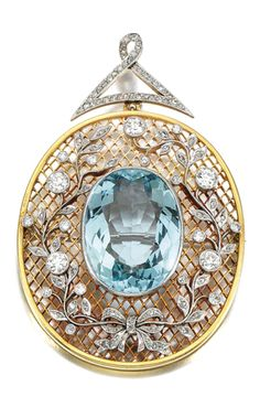 AQUAMARINE AND DIAMOND BROOCH/PENDANT Centring on an oval aquamarine to a trellis background, applied with foliate and floral motifs millegrain-set with rose- and circular-cut diamonds, to a curb link chain, length approximately 660mm, pendant detachable can be worn as a brooch.