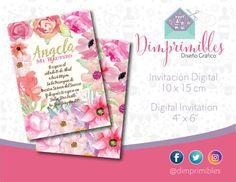 Invitación Flores, Initación Flores Imprimible, Invitación Flores Imprimible, Invitación Bautizo, Invitación Presentación