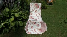 Vintage Shabby Cotage  Waverly Home Chair Cover by thebedpost02 on Etsy