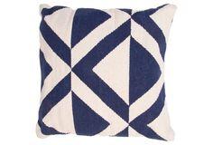 Juxtapose 18x18 Cotton Pillow, Blue