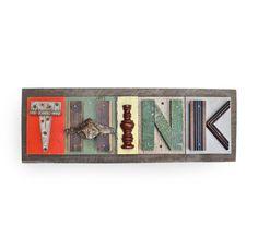 typography THINK 5 wood collage modern by ElizabethRosenArt