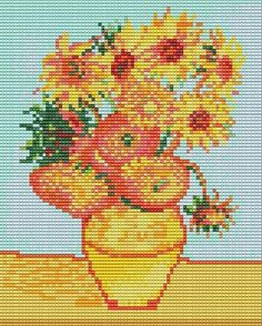 Items similar to Bead Loom Tapestry Sunflowers Van Gogh Pattern Chart PDF on Etsy Cross Stitch Art, Cross Stitch Flowers, Cross Stitch Designs, Cross Stitching, Cross Stitch Patterns, Seed Bead Patterns, Beading Patterns, Embroidery Art, Cross Stitch Embroidery