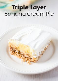 The thing about fruit is it's always better when it's baked into a dessert, and this Triple Layer Banana Cream Pie is no exception. Made with vanilla cookies, pecans, butter, milk, and whipped topping, this refreshing and airy dessert is the perfect picnic treat.