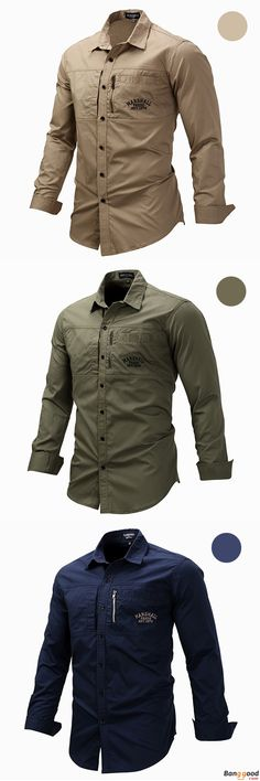 Reasonable Price + Free Shipping. Outdoor Military Style Chest Zipper Pocket Long Sleeve Lapel Cotton Work Shirt for Men. >>> To View Further, Visit Now.