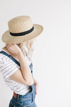Faye Short - Natural Straw Boater Brim Hat 3e3e770cf6a1