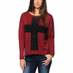 Add the Cross sweater from Empyre Girl to your layered look for some comfortable and trendy style. This Dark Red Empyre sweater was made with a thick knit construction and loose fit, and has a large crochet cross at the front in Black that will help add some bold flavor to any outfit.