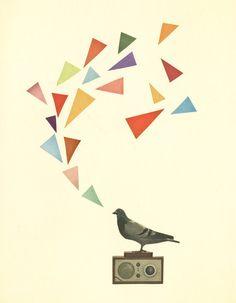 FREE SHIPPING Geometric Art, Retro Wall Art, Pop Art Poster, Collage Art Print, Giclee Print - Pigeon Radio on Etsy, $28.00