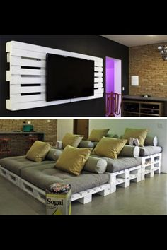 i'm not a fan of the color scheme but i want a rustic colored pallet movie theatre in my attic {kw}