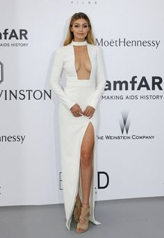 Gigi Hadid in a Tom Ford dress and Aquazzura shoes at the amfAR gala at the Cannes Film Festival. (Photo: Regis Duvignau/Reuters)