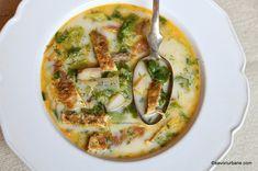 ciorba deasa de salata Vegetable Pizza, Quiche, Bacon, Food And Drink, Cooking Recipes, Vegetables, Breakfast, Green, Salads