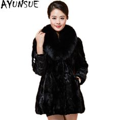 e3d623796b8 AYUNSUE 2018 Luxury Real Fur Coat Mink Coats Women Winter Warm Female Jacket  Fur Coats Natural Fox Fur Collar Plus Size Price history.