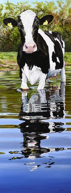 "Clara Bastian; Oil, Painting ""Cow in a creek"""