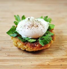 Quinoa Cakes with Poached Egg and Parsley - Verses from my Kitchen