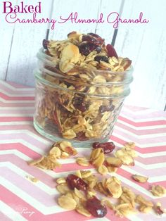 Baked Cranberry Almond Granola Recipe! Love this Fall Food Recipe - and goes perfectly in Greek Yogurt for a Healthy Recipe!