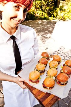 Mini Sliders with Roasted Tomato Aioli and House-Made Pickles on Brioche