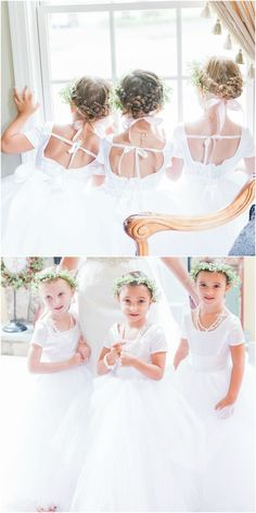 Flower girls, white satin dresses, baby's breath flower crowns, braided buns // Thompson Photography Group