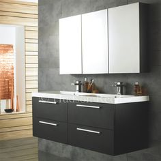 Quartet Basin and Cabinet in Black Wood by Hudson Reed.