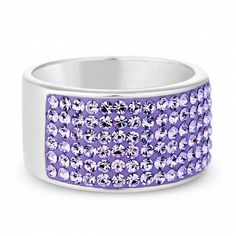 Sterling silver wide pave crystal ring ($54) ❤ liked on Polyvore featuring jewelry, rings, pave jewelry, sterling silver jewellery, wide-band rings, crystal jewelry and pave crystal jewelry
