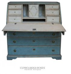 Slant Front Writing Desk in Blue Paint 3 Rustic Scandinavian Country Homes Borrow Ideas From Norway and Denmark Antique Desk, Antique Paint, Antique Furniture, Swedish Style, Swedish Design, Cool Furniture, Painted Furniture, Furniture Ideas, Art Decor