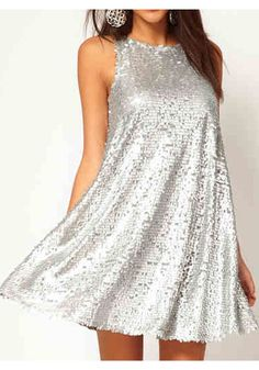 Super Cute! Would love this dress for Christmas or New Year's Eve! Silver Plain Sequin Sleeveless Above Knee Polyester Dress