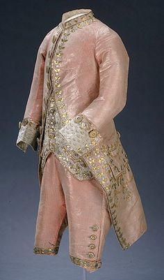 1786 for the young Alexander I, Russia. 3- piece court suit. Pink silk with golden metal thread embroidery; waistcoat: cream silk with metal thread embroidery.