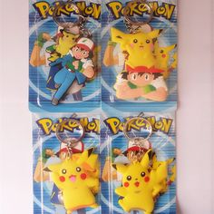 Pokemon Pikachu Ash Silicone keychain Action Figure Toys Double-sided PVC…