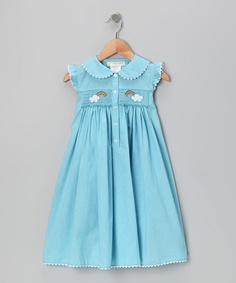 Take a look at this Blue Gingham Rainbow Smocked Button-Up Dress - Toddler by Secret Wishes on #zulily today!