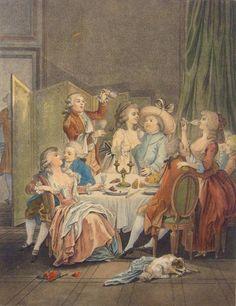 BONNET Louis-Marin (1743-1793), Le Souper, after Jean Baptiste Huet (1745-1811)