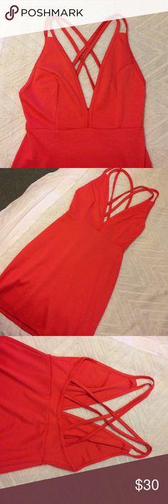 Nasty Gal Strappy Dress Never worn deep V dress from nasty gal. Orange/coral color. Nasty Gal Dresses Mini