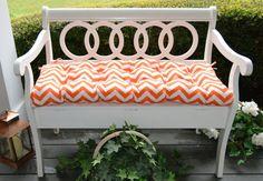 Orange and White Chevron Zig Zag Tufted by PillowsCushionsOhMy